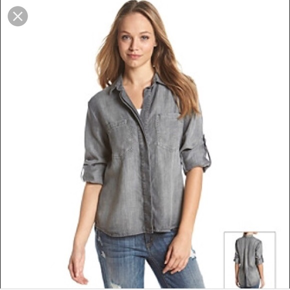 9673a57ccd69 cloth & stone Tops | Anthropologie Cloth Stone Gray Split Tail Top ...